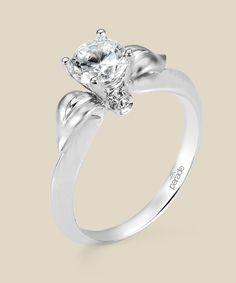 White Gold Engagement ring with Satin finish leaves and peek-a-boo diamonds Parade Design # R2474-R1