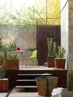 corten cacti Planters | Designed by Randy Rollner and Charles Constantine.