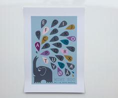 Mini Zoo ABC – Plakat med alfabetet - A3 - Tinga Tango #illustration#minizoo#børneværelse#grafisk#elefant