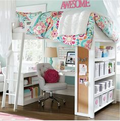 It's amazing how creative people can be! While the tiny home trend is on the rise, just as many single-family homeowners (and apartment dwellers) are taking steps to get even more space out of their cramped quarters. Bedroom Decor For Teen Girls, Blue Teen Girl Bedroom, Small Room Bedroom, Girl Bedroom Designs, Bedroom Ideas, Dream Bedroom, Bed Ideas, Small Rooms, Small Spaces