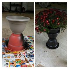 Two dollar general pots.. glue together, spray paint the color of your choice.. top with fall flowers! You're welcome :)