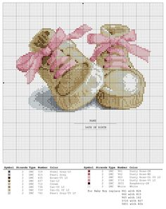 Birth sampler Baby Shoes for boy and girl