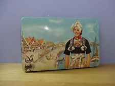 VTG CANDY TIN BOX RINGERS CACAO ALKMAAR HOLLAND GIRL IN Traditional COSTUME