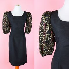Vintage 80s Prom Dress Black & Gold Lace Sleeves! // 1980s Retro Party Dress Women Size Large by RIPandROSE on Etsy
