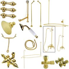 Kingston Brass Vintage Wall Mount Down Spout Clawfoot Tub and Shower Package with Metal Lever Handles, Polished Brass