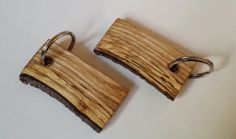 Wooden keyring Oblong Spalted Sweet Chestnut by CottageCoppicing, £3.00
