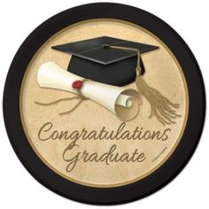Congratulations Graduate paper plates for a graduation celebration.