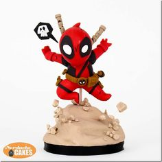 Adorable Chibi Deadpool Cake made by Nerdache Cakes Diy Cake Topper, Cake Toppers, Deadpool Cake, Decors Pate A Sucre, Marvel Cake, Book Cupcakes, Biscuits, Cakes Today, Superhero Cake
