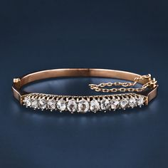 Antique bracelet. 1800's. 18kt Rose Gold and 3ct. Diamonds. A girl can dream. $7000