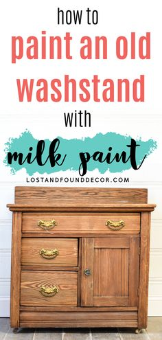I really like using milk paint on these types of pieces. I think the naturally worn look of milk paint complements the age of the piece well and also still shows off that beautiful wood grain. I think I've painted 7 or 8 washstands in milk paint now! If you want to take a look at a few of the others, I've linked them at the end of this post. Milk Paint Furniture, Repainting Furniture, Painted Furniture, White Washed Furniture, Distressed Furniture, Flip Furniture For Profit, Furniture Painting Techniques, Painting Tips, Diy Furniture Tutorials