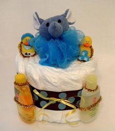 One Tier Bath Time Elephant Elephant Diaper Cake
