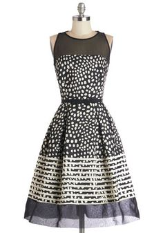 Champagne Cocktails Dress - Black, Print, Belted, Party, Sleeveless, Better, Scoop, Prom, Fit & Flare, White, Polka Dots, Long, Sheer, Woven...