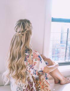 Half up halo braid + soft curl tutorial hair hair styles, ha Box Braids Hairstyles, Braided Crown Hairstyles, Bride Hairstyles, Down Hairstyles, Straight Hairstyles, Braided Hair, Trendy Hairstyles, Soft Curls Tutorial, Braid Crown Tutorial
