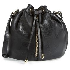 POVERTY FLATS by rian 'Vintage' Bucket Bag ($58) ❤ liked on Polyvore featuring bags, handbags, shoulder bags, black, vintage handbags, black shoulder bag, structured purse, vintage black handbag and black purse
