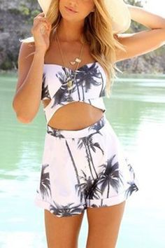 Pastoral Palm Tree Print Playsuit with Cut Out Detail  -YOINS