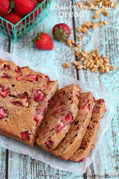 Strawberry Walnut Bread - a delicious quick bread filled with fresh strawberries and walnuts. Easy, light and flavorful! yummyhealthyeasy.com