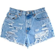 Studded Shorts, Vintage Distressed High Waisted Denim W28 ($60) ❤ liked on Polyvore featuring shorts, bottoms, pants, short, cut-off jean shorts, denim cutoff shorts, denim shorts, high waisted denim shorts and high-waisted shorts