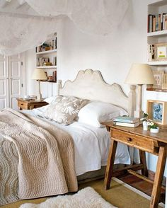 comfortable textures, tone on tone, book shelves built in between studs above night stands