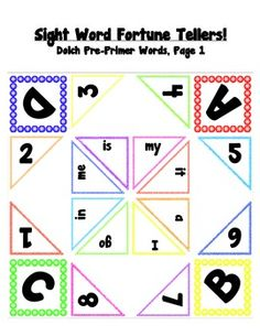 Sight Word Cootie Catchers for Kindergarten, and Grade! Preschool Sight Words, Dolch Sight Words, Sight Word Activities, Word Games, Speed Reading, Guided Reading, Teaching Reading, Teaching Ideas, Kindergarten Classroom