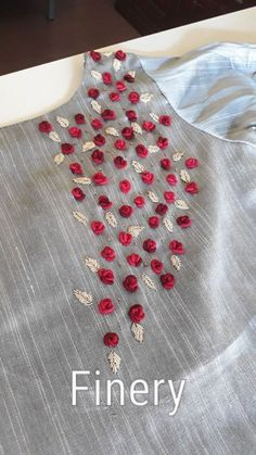 Grand Sewing Embroidery Designs At Home Ideas. Beauteous Finished Sewing Embroidery Designs At Home Ideas. Embroidery On Kurtis, Kurti Embroidery Design, Embroidery Neck Designs, Hand Embroidery Flowers, Embroidery Works, Embroidery Suits, Hand Embroidery Stitches, Embroidery Fashion, Silk Ribbon Embroidery