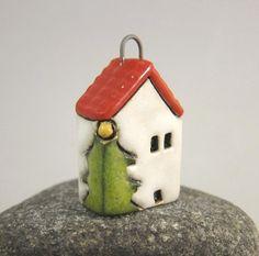 Xmas Home...House Pendant in Stoneware