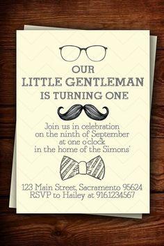 Little Gentleman birthday invitation