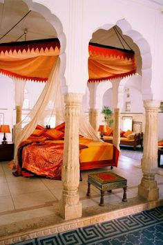 Stunning Indian Inspired Bedroom Fit A Princess   Samode Palace Hotel,  Rajasthan, India.