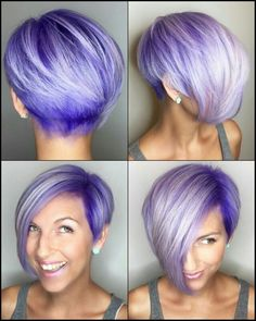 Hair Color Purple Grey Shades New Ideas Funky Hair Colors, Hair Color Purple, Cool Hair Color, Purple Grey, Grey Hair With Purple Highlights, Short Hair Cuts, Short Hair Styles, Short Trendy Hair, Pixie Cuts