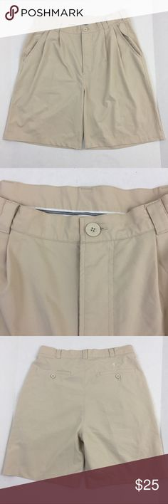 """Under Armour khaki Golf Shorts Men's 34 Waist Poly Brand: Under Armour Detail: Khaki Golf Shorts, Flat Front Condition: This item is in Good Pre-Owned Condition! There are NO Major Flaws with this item, and is free and clear of any Noticeable Stains, Rips, Tears or Pulls of fabric. Overall This Piece Looks Great and you will love it at a fraction of the price! Material: 100% Polyester Size:  34 Waist Measurements: Inseam: 9"""" Length: 22"""" 💥Top Rated Seller 💥Top 10% Seller 💥10% Discount…"""