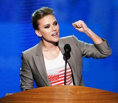 Scarlett Johansson. The politically-minded star, who has hosted a number of fundraisers for left-leaning candidates over the years, voiced her support for Obama in front of an audience of millions when she spoke at the Democratic National Convention in September.