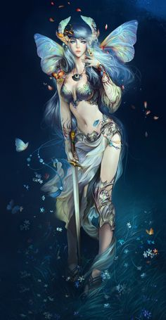 1girl angelos blue_eyes blue_hair breasts butterfly butterfly_wings cleavage hair_ornament highres jewelry large_breasts lips long_hair looking_at_viewer necklace original petals solo standing sword weapon wings fairy faery fae