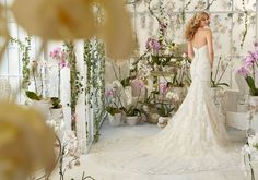 Mori Lee Bridal Embroidered Appliques and Scalloped Edging on Net Wedding Dress with Sheer Train and Crystal Moonstone Beading   Morilee
