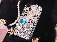 Bling blue crystal octopus cell phone cover iphone 4s 4 by emma999, $36.90