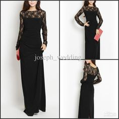 Wholesale Evening Dresses - Buy Designer Round Neck Floor Length Black Long Sleeves Gowns for Women's Evening Dresses, $179.55 | DHgate