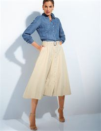 Created entirely in casual sporty jeans style, with patch breast pockets, full-length button placket and long sleeves.