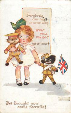 Agnes Richardson  girl golliwog britain war poster toy soldier