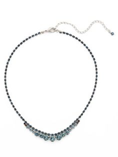 Multi-Size Round Crystal and Rhinestone Line Necklace