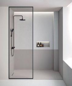 Minimalist Showers, Minimalist Bathroom Design, Modern Bathroom Design, Bathroom Interior Design, Behindertengerechtes Bad, Small Bathroom, Master Bathroom, Toilet Design, Modern Shower
