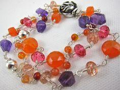 Triple Strand Bracelet ~ HOT FRUIT SALAD ~ Carnelian, Amethyst, Sunstone, Sterling Silver