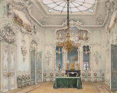 "loumargi:  ""Luigi Premazzi, Interiors of the Winter Palace. The Green Dining Room, watercolour, 1852  """
