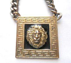 Vintage lion pendent heavy chain statement Necklace