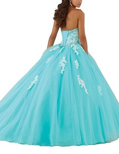 Elley Women's Lace Applique Sweet Sixteen Girl Birthday Party Backless Long Tulle Quinceanera Dress Aqua US2