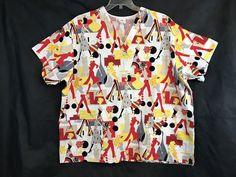15ddc91f514 Peaches Scrub Top White Multicolor Retro Ladies Short Sleeve Nurse Size XXL  | Clothing, Shoes