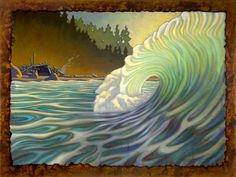 I hope you enjoy these beautiful paintings by Matt Beard . He is a surf artist from Humbolt County California( I used to live there too. Beard Art, Hawaiian Art, Wave Art, Sewing Art, Surf Art, Ocean Waves, Beautiful Paintings, Art Boards, Sculpture Art