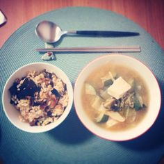 Korean miso soup with rice