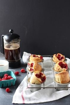 Raspberry Popovers | Completely Delicious - you can make this with a muffin pan or popover pan - this would be perfect served with vanilla bean ice cream