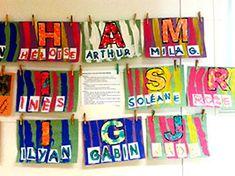 Composition autour du prénom et de l'initiale Preschool Names, Name Activities, Alphabet Activities, Preschool Art, Preschool Activities, Sons Initiaux, Name Practice, Art Projects, Projects To Try