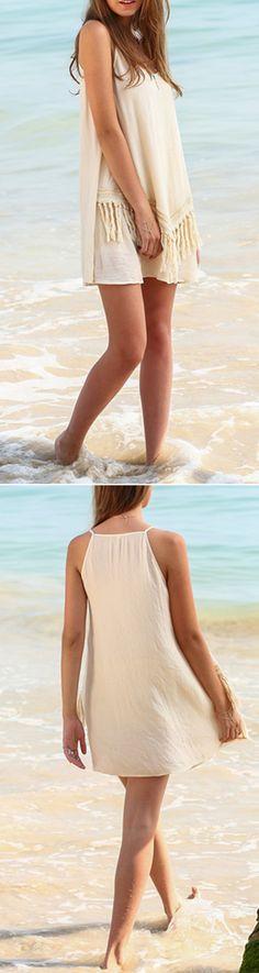 Apricot Fringe Spaghetti Strap Beach Dress. Summer short dress. Beach fringe dress. Spaghetti strap mini boho dress.