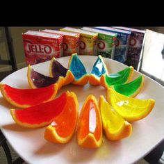 Jelly Shots! Cut an orange, lemon or lime in half and remove the fruit. Make the jelly shot mix.. 1 cup hot water, 1 box jelly mix, 1 cup vodka (or desired alcohol) pour into orange, refrigerate for 3 hours till set, cut into wedges! Get the party started!! Eat responsibly!!