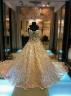 Luxury Beads A-line Cathedral Train Wedding Dress